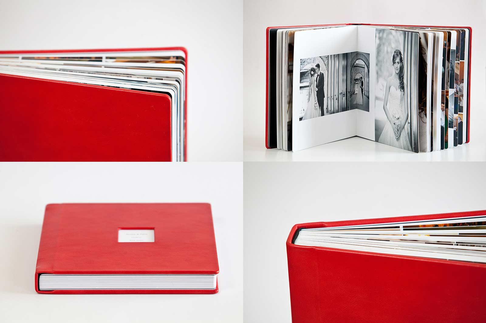 Album foto de nuntă cu copertă din piele de culoare roșie