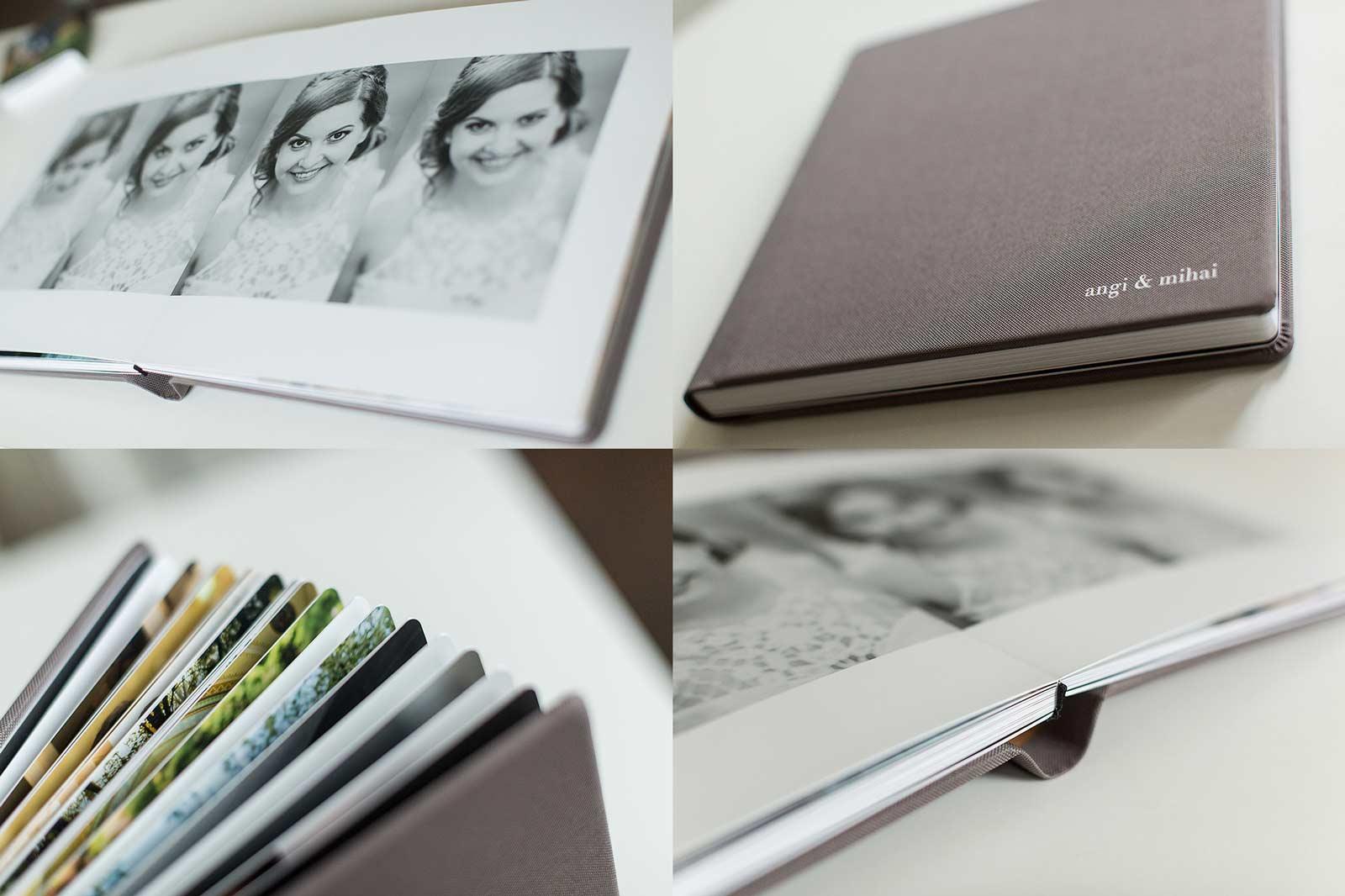 Album foto de nuntă cu copertă din material textil