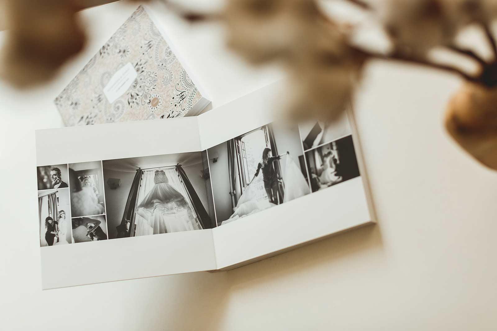 Album foto de nuntă cu pagini deschise