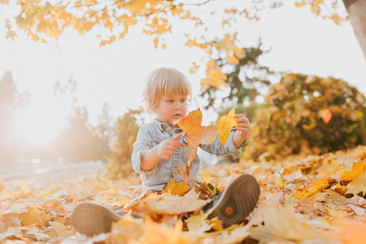 Copil la joacă printre frunze galbene de toamnă